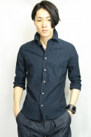 VADEL selvage wire shirts 3/4 NAVY