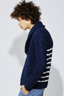【15%OFF+ポイント15倍】9200 cable cardigan NAVY×WHITE
