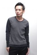 OURET リブUネックカットソー NAVY/GRAY