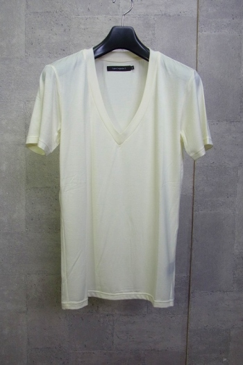 【SALE】1piu1uguale3 DEEPVネックカットソー WHITE