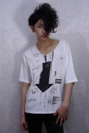 nude:mm LOSTプリントTシャツ OFF WHITE