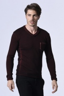 wjk pocket V-neck knit burgun