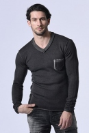 wjk pocket V-neck knit d.gray