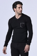 wjk pocket V-neck knit black
