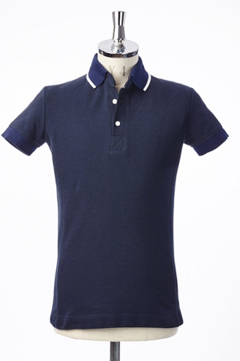 【SALE+ポイント20倍】AKM 17SS S/S LINE POLO NAVY
