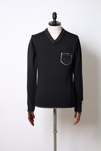 【25%OFF+ポイント5倍】wjk pocket V-neck knit black