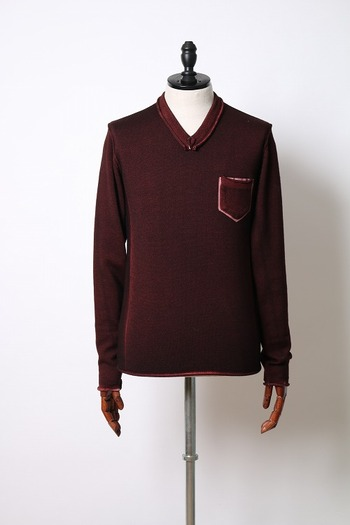 【25%OFF+ポイント5倍】wjk pocket V-neck knit burgun