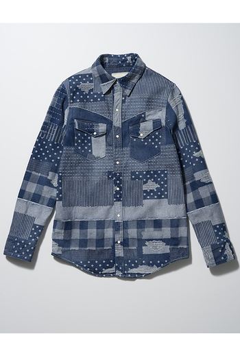 SEVESKIG 17SS FAKE PATCH WORK DENIM SHIRT