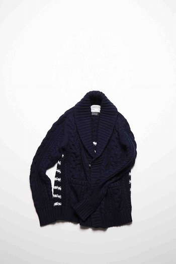 【25%OFF+ポイント5倍】9200 cable cardigan NAVY×WHITE