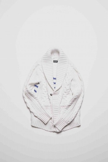 9200 cable cardigan WHITE×NAVY
