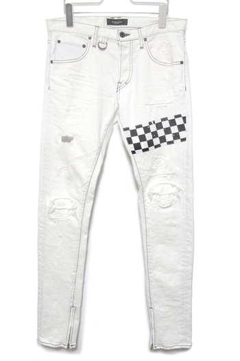 OVERDESIGN 17SS SKINNY ZIP CHECKER SLAVE WHT
