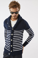 AKM BORDER SHAWL CARDIGAN NV/WH