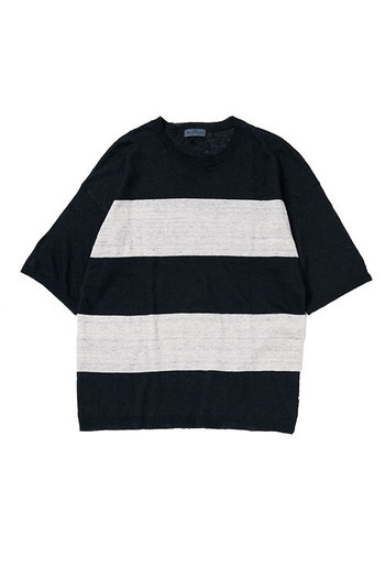 glamb Linen border knit Black×White
