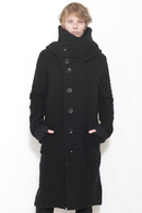 nude:mm 17AW ウール綿パイル天竺 PARKA COAT BLACK