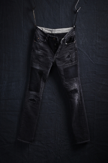 【予約】VADEL 17AW TIGHT EASY DENIM TROUSERS BLACKUSED