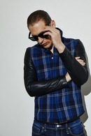 【予約】ATM7 17AW Sleeveless leather shirt BK-CHECK BL