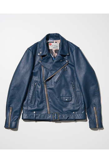 【予約】SEVESKIG 17AW COW HIDE W-RIDERS JACKET NAVY