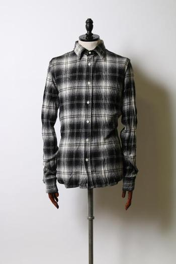 wjk 17WT check shirts with leather black