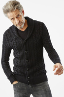 【SALE+ポイント10倍】AKM 17AW  SHAWL CARDIGAN BLACK