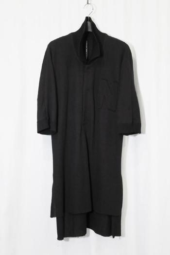 【予約】nude:mm 18SS オニ鹿の子 BIG POLO SHIRT BLACK_nm82
